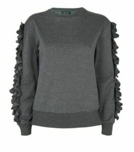 Grey Ruffle Sleeve Sweatshirt New Look