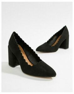 QUPID Pointed Block Heels-Black