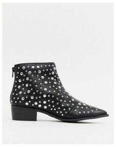 London Rebel Pointed Stud Ankle Boots-Black