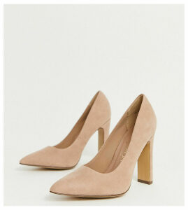 New Look Wide Fit faux suede pointed heeled shoes in tan