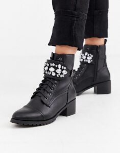Head Over Heels Perlo jewelled strap mid heeled biker ankle boots-Black