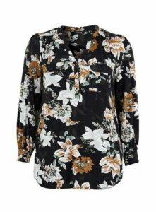 Black Floral Print Jersey Shirt, Black