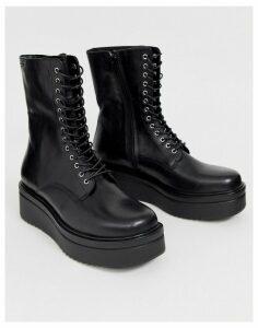 Vagabond Tara flatform chunky lace up boots in black leather