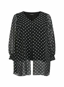 Black Polka Dot Split Front Top, Black