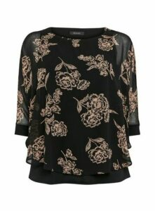 Black Floral Print Overlay Blouse, Black