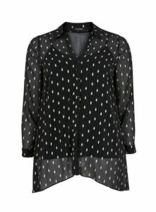Black Sparkle Sheer Overlay Shirt, Black