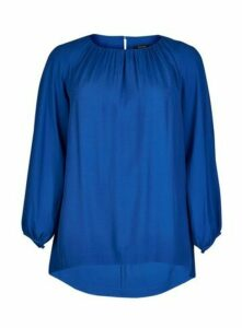 Boutique Blue Long Sleeve Top, Mid Blue