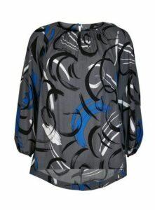 Boutique Grey Swirl Print Top, Bright Multi