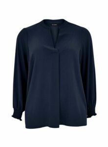 Navy Blue Shirred Cuff Shirt, Navy