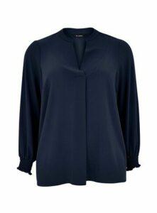 Navy Blue Shirred Cuff Shirt, Navy