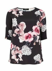 **Grace Brown And Pink Rose Woven Tunic Top, Pink