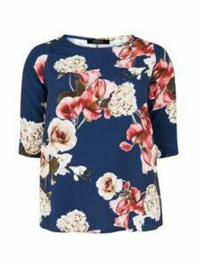 **Grace Navy Blue Floral Print Woven Tunic Top, Blue