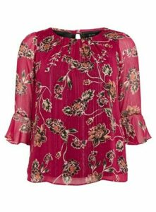 Red Floral Print Frill Sleeve Top, Berry