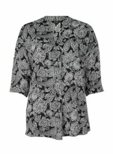 Black Paisley Print Shirt, Black