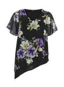 **Grace Black And Purple Asymmetric Print Blouse, Purple