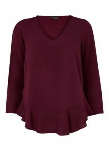 Wine Frill Hem Top, Wine