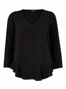 Black Frill Hem Top, Black