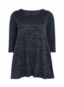 Navy Blue Soft Touch Scoop Neck Swing Tunic Top, Blue