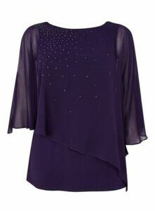 Purple Sparkle Overlay Top, Purple