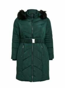 Green Belted Padded Coat, Green
