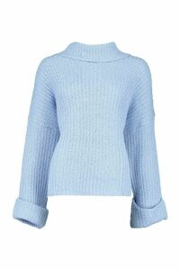 Womens Tall Turn Up Cuff Rib Jumper - blue - S, Blue