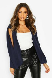 Womens Tall Cape Blazer - navy - 16, Navy