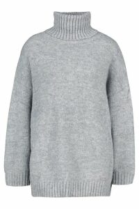 Womens Tall Oversized Roll Neck Premium Jumper - grey - One Size, Grey