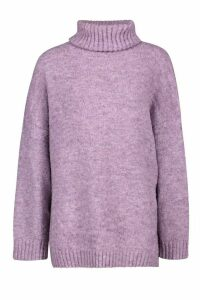 Womens Tall Oversized Roll Neck Premium Jumper - purple - One Size, Purple