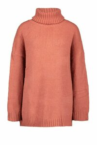 Womens Tall Oversized Roll Neck Premium Jumper - Pink - One Size, Pink