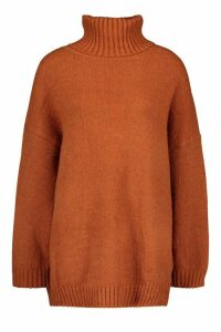 Womens Tall Oversized Roll Neck Premium Jumper - orange - One Size, Orange