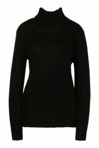 Womens Tall Roll Neck Soft Knit Jumper - black - XL, Black
