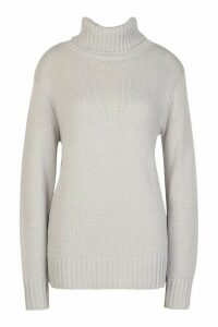 Womens Tall Roll Neck Soft Knit Jumper - Grey - S, Grey