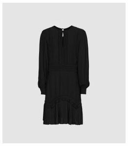 Reiss Roxy - Long Sleeved Mini Dress in Black, Womens, Size 16