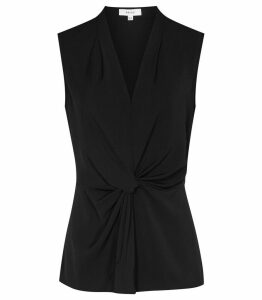 Reiss Farah - Twist-front Top in Black, Womens, Size 14