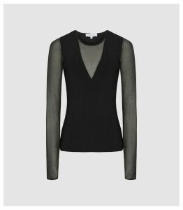 Reiss Venus - Semi Sheer Detailed Top in Black, Womens, Size XXL