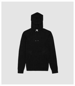 Reiss Santiago - Cashmere Blend Hoodie in Black, Mens, Size XXL