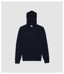 Reiss Santiago - Cashmere Blend Hoodie in Navy, Mens, Size XXL
