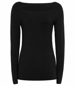 Reiss Oria - Cut-away Jumper in Black, Womens, Size XXL