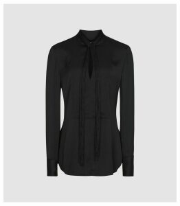 Reiss Beatrice - Tassel Detailed Blouse in Black, Womens, Size 16
