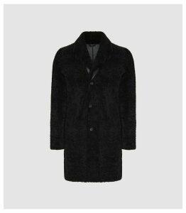 Reiss Kid - Teddy Shearling Coat in Black, Mens, Size XXL