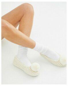 New Look knitted pom pom ballerina slippers in white