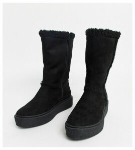 ASOS DESIGN Wide Fit Aquarius faux fur flat boots in black