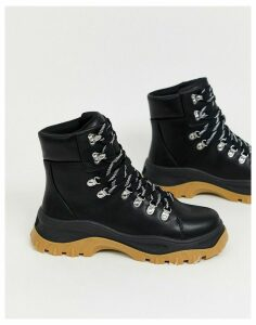 Monki high top hiking boots in black