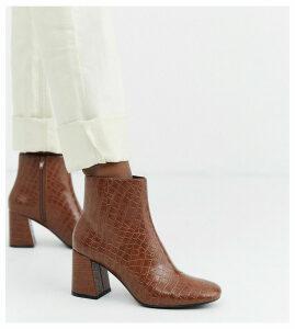 Monki croc print block heel ankle boots in brown