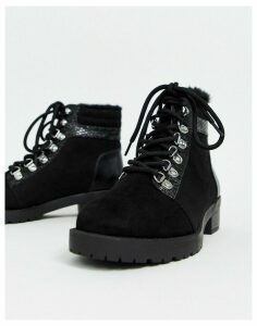 Miss Selfridge hiker boots in black