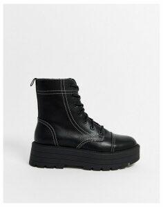 Bershka contrast stitch flatform lace up biker boots-Black