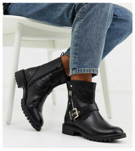 Simply Be wide fit biker boot in black with buckle detail