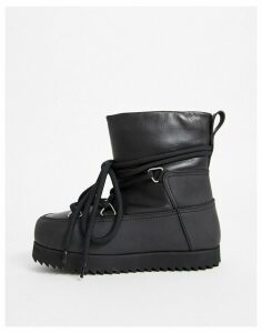& Other Stories lace-up chunky snow boots in black