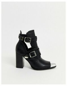 RAID Opal heeled ankle boots in black with silver hardwear