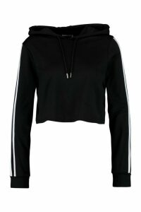 Womens Fit Sports Stripe Crop Hoody - black - 14, Black